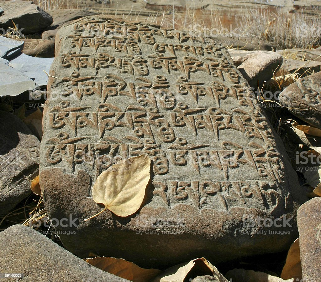 Stone with buddhistic inscription royalty-free stock photo