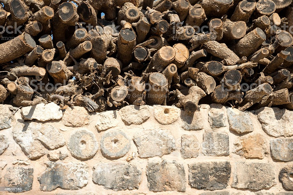 Stone- wood Wall Texture royalty-free stock photo