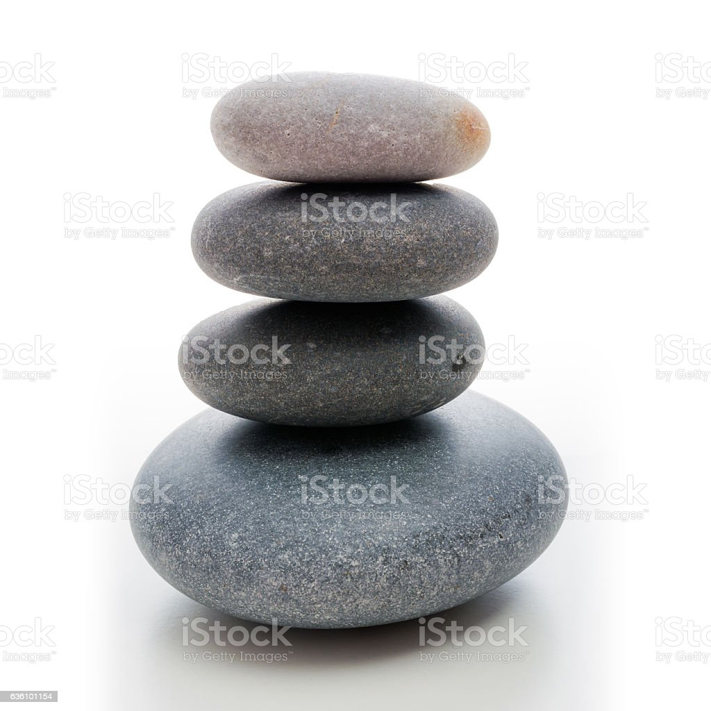 stone zen tower with grained basalt stones stock photo