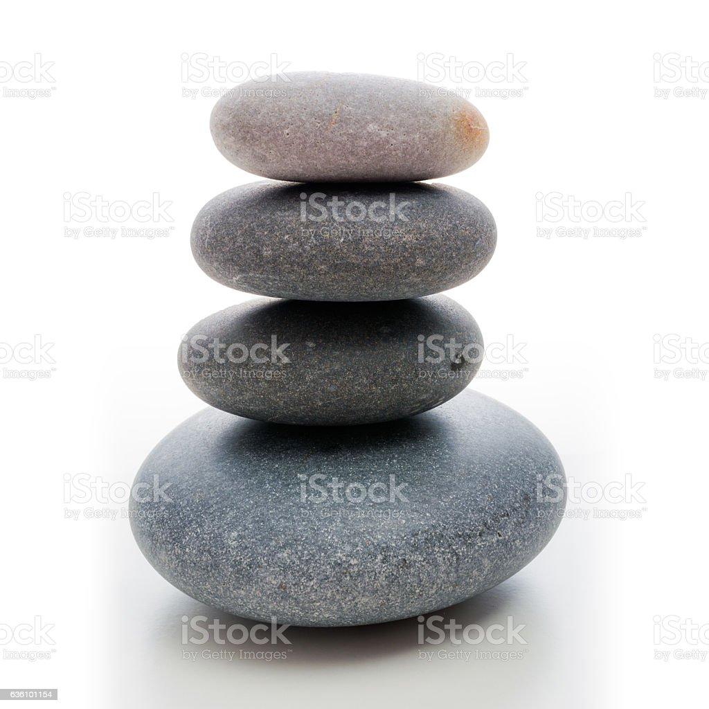 stone zen tower with grained basalt stones stock photo
