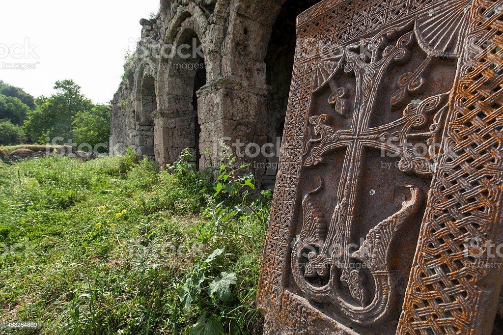 Stonecross in monastery in Kolatak, Nagorno Karabakh stock photo