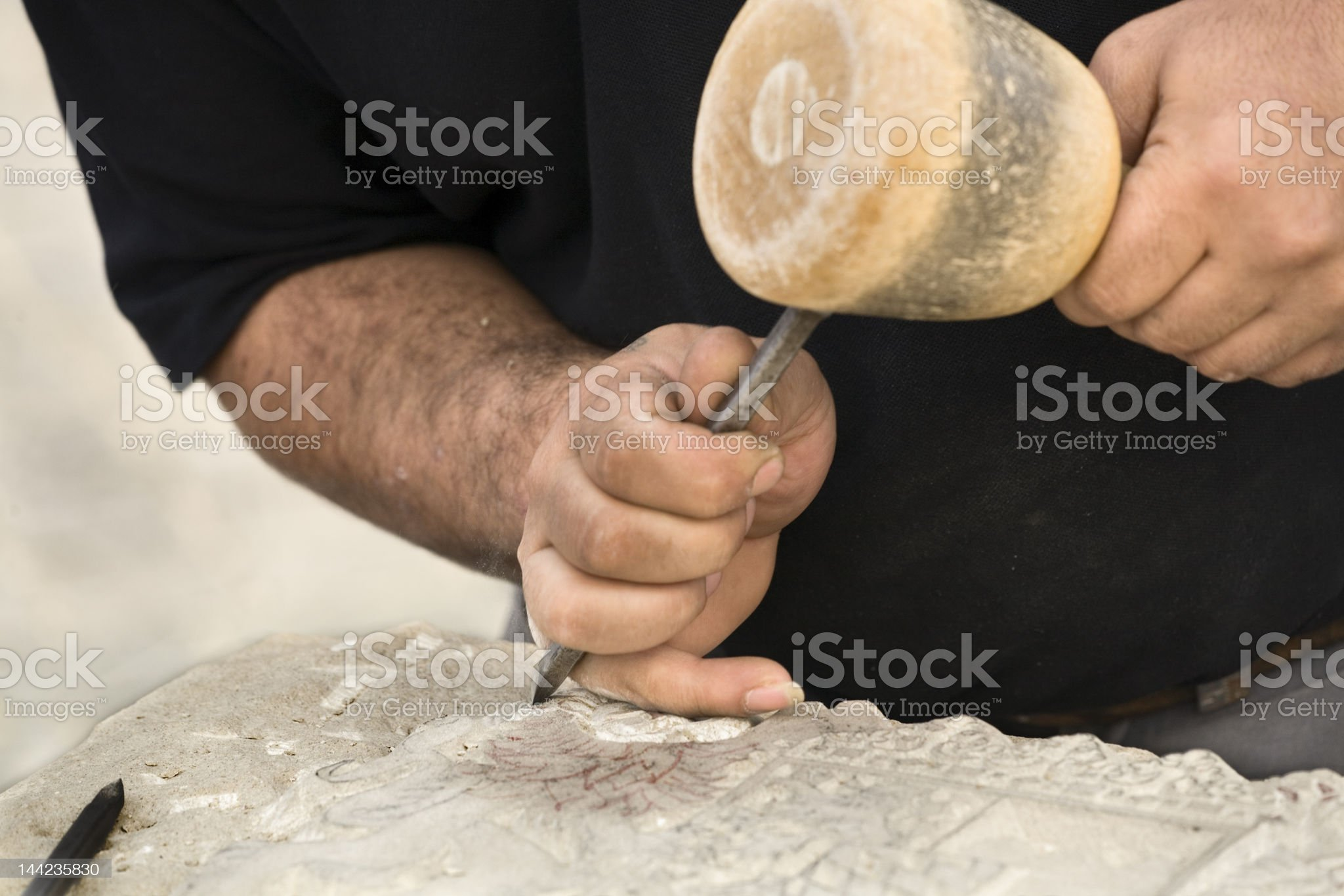Stonecutter at work royalty-free stock photo