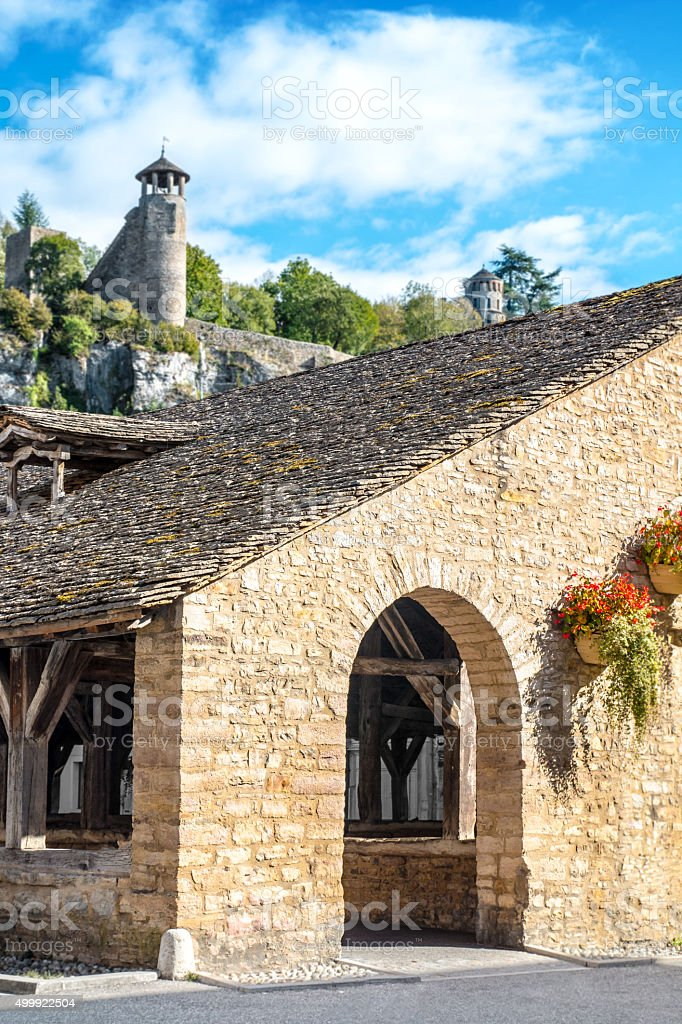 Stoned covered market from 15th century of Cremieu medieval city stock photo