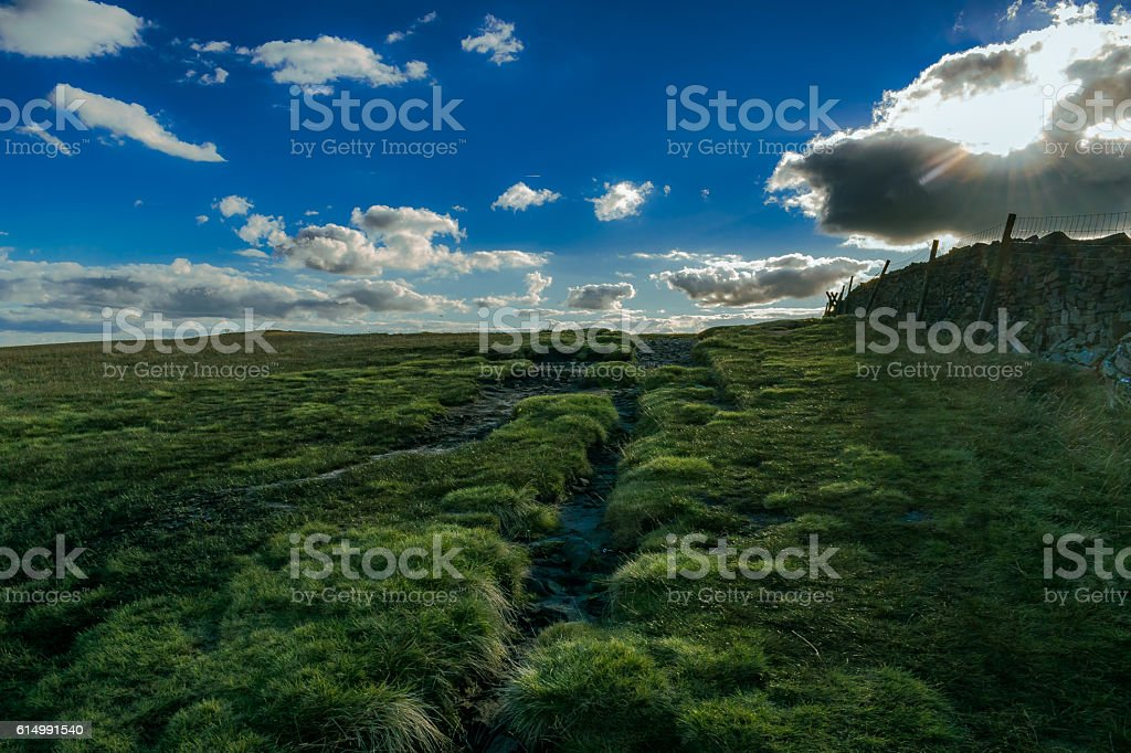 Stoned Wall on Pendle Hill stock photo