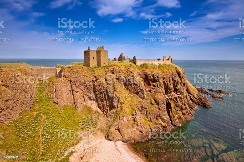 Stonehaven, Aberdeenshire, Scotland – July 5, 2013: Dunnotar Castle stock photo