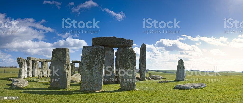 Stonehenge Against Blue Sky on Sunny Day royalty-free stock photo
