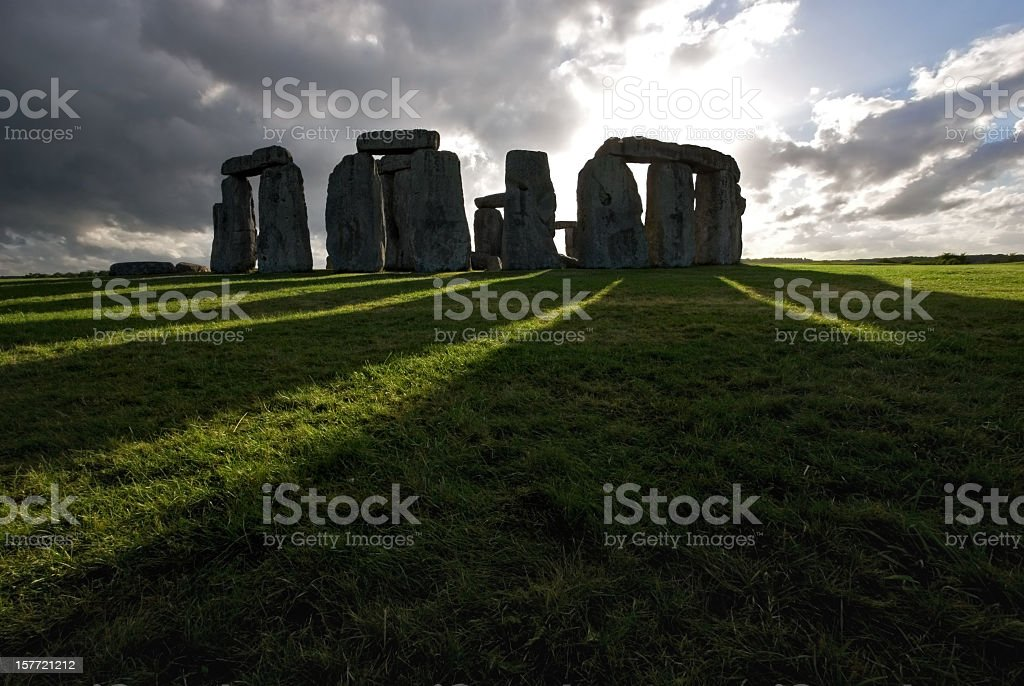 Stonehenge and shadows stock photo