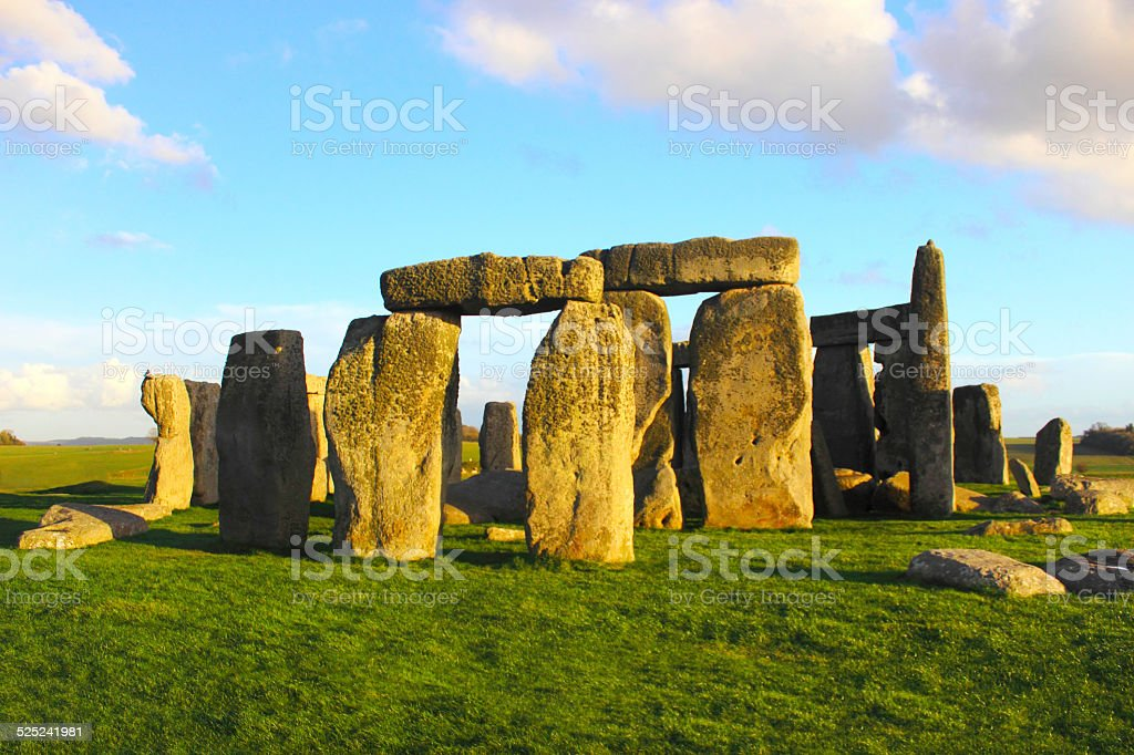 Stonehenge at sunset, bright color stock photo