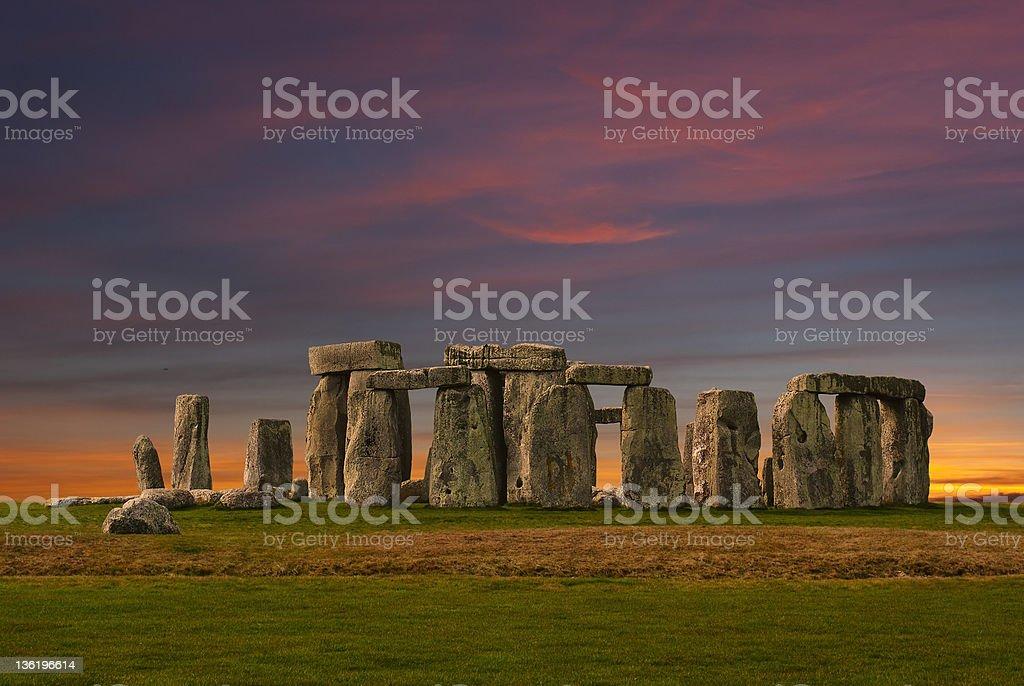 Stonehenge at sunset stock photo
