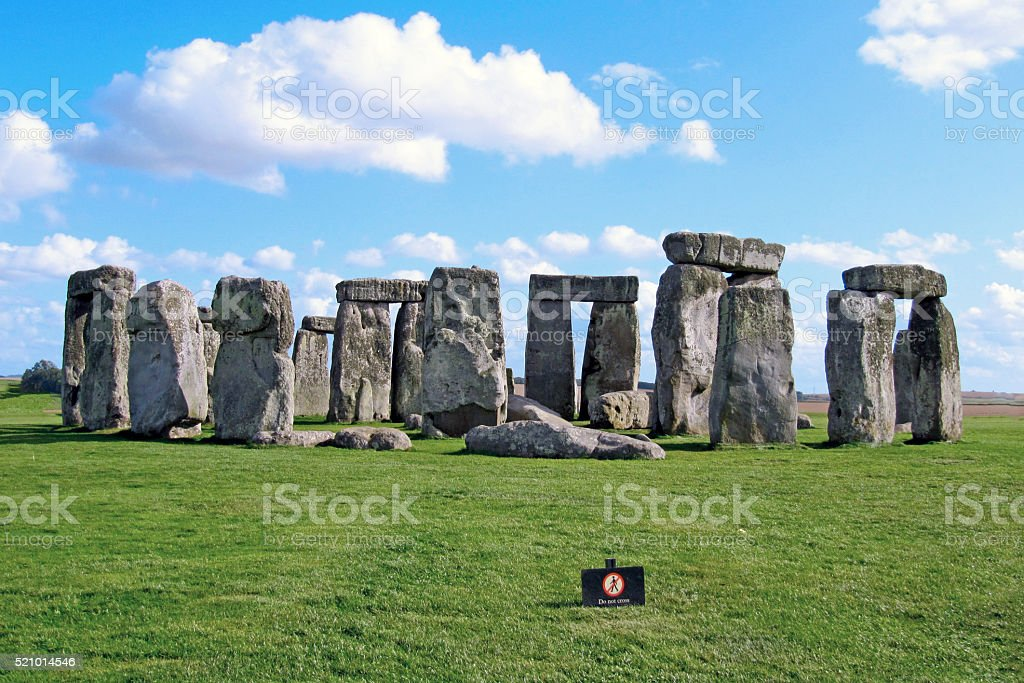 Stonehenge historic site - Blue sky stock photo
