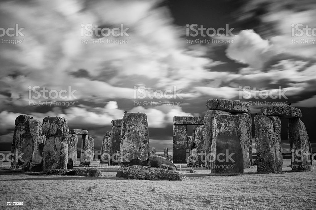 Stonehenge In Black & White royalty-free stock photo