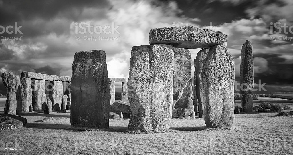 Stonehenge In Black & White stock photo