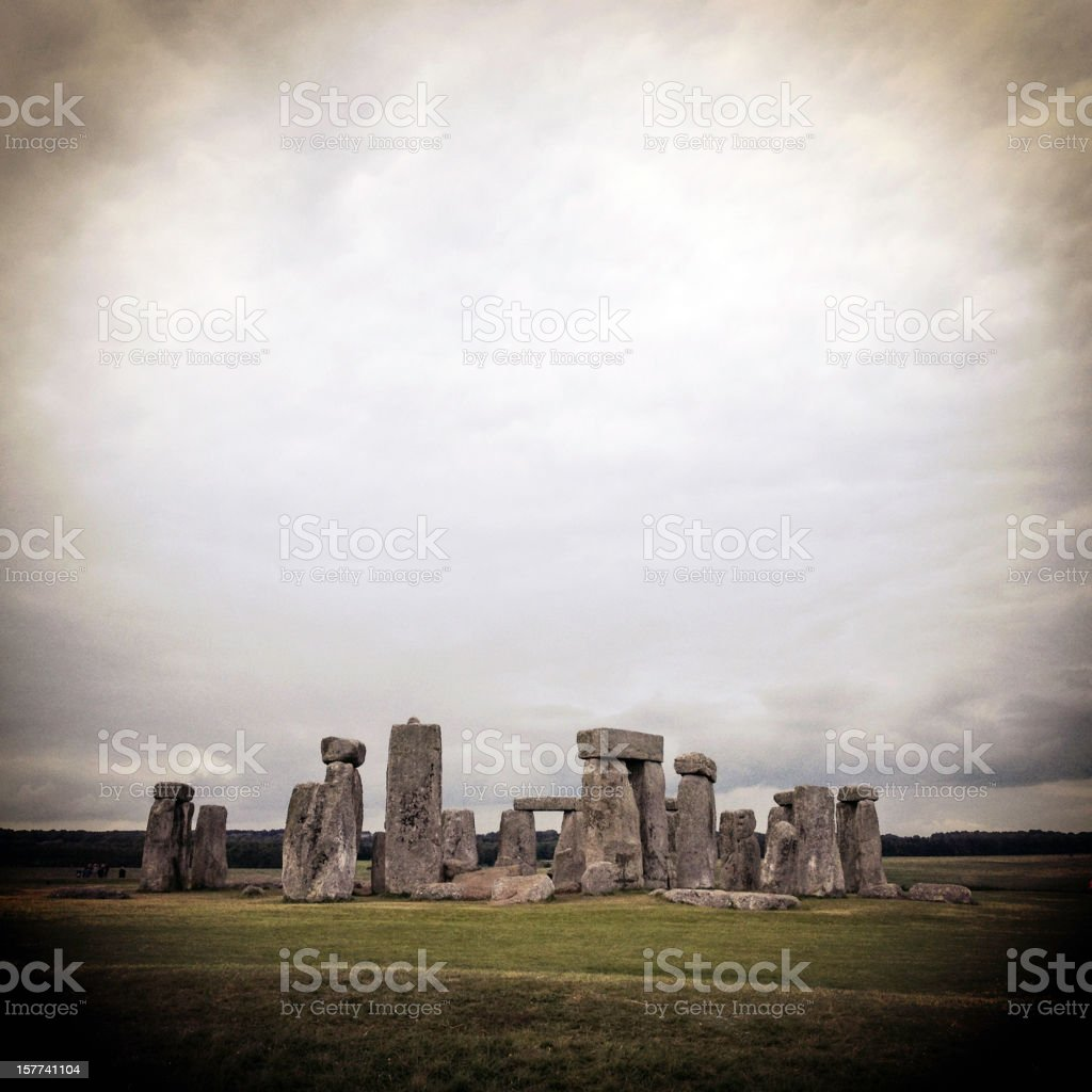 Stonehenge in Wiltshire on a moody day stock photo