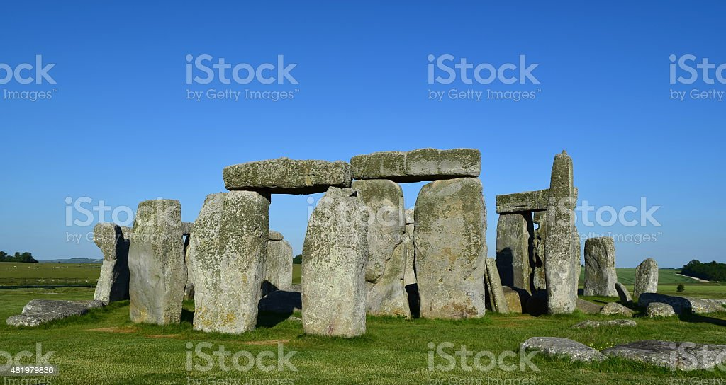 Stonehenge on a clear blue day stock photo