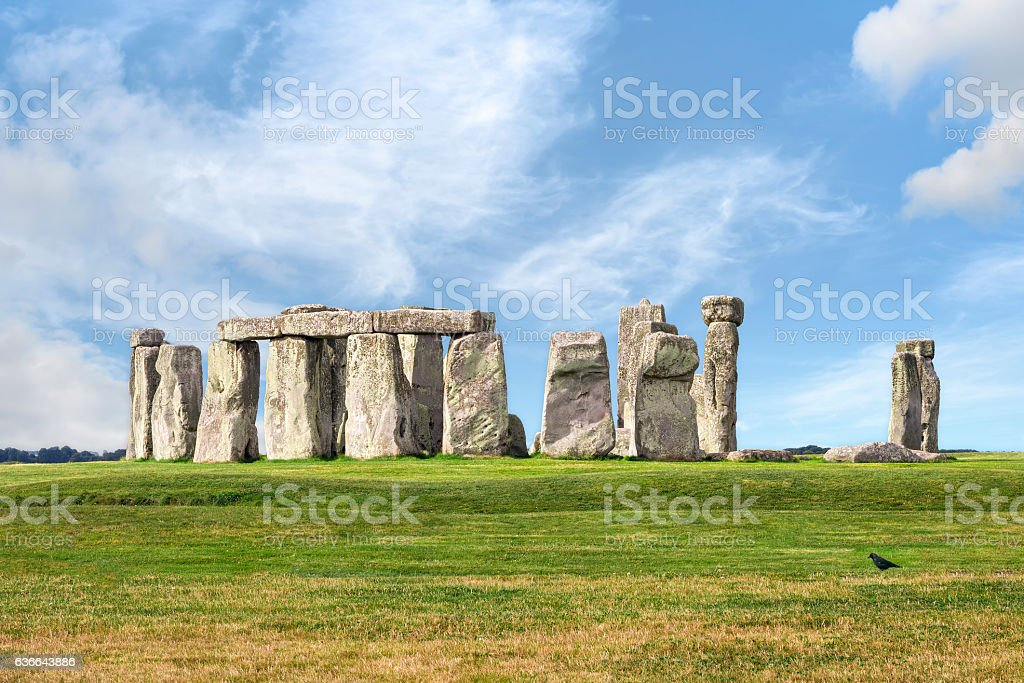 Stonehenge prehistoric megalith monument arranged in circle. stock photo