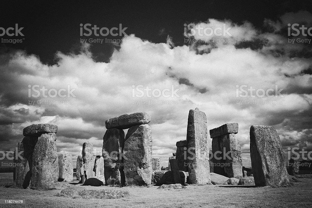Stonehenge prehistoric stone circle, black and white, Wiltshire, England royalty-free stock photo