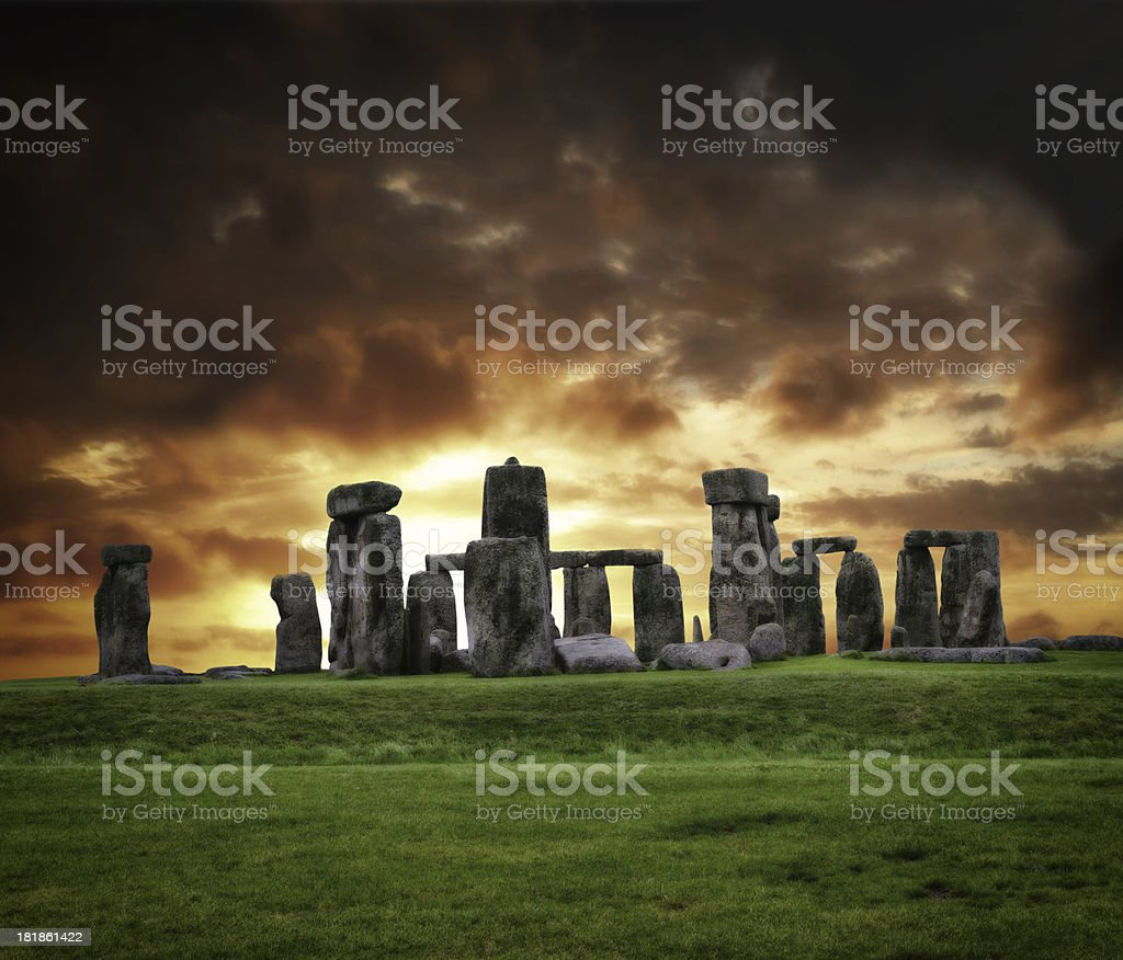 Stonehenge, the prehistoric monument, under a dramatic sky stock photo