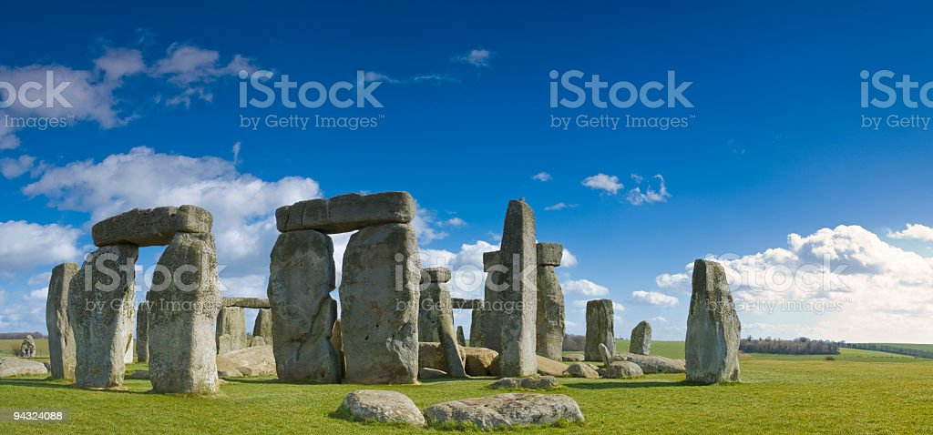 Stonehenge under big blue skies stock photo