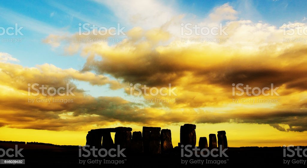 Stonehenge with orange sky stock photo