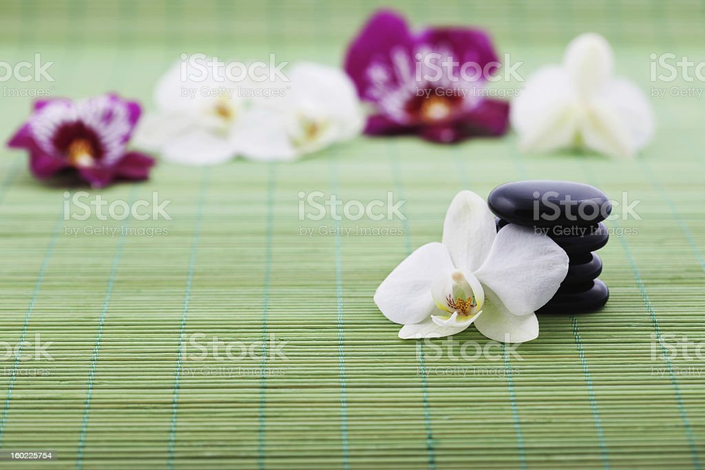 Stones and Orchids Wellness Concept royalty-free stock photo
