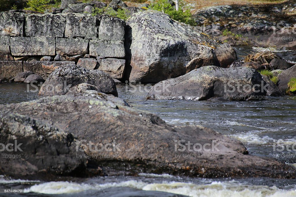 Stones and water at the Swedish river Ammeraan stock photo