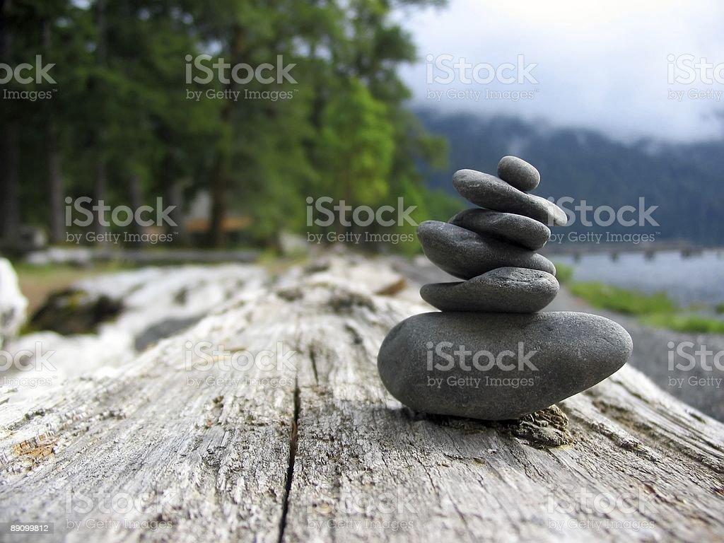 Stones at Lake Crescent stock photo
