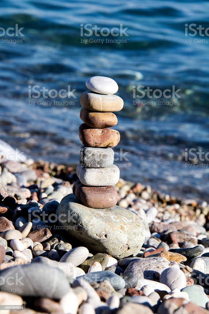 Stones balance vintage pebbles stack background . stock photo