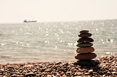Stones balance vintage pebbles stack background