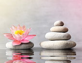 stones balance with flower lily on grey background