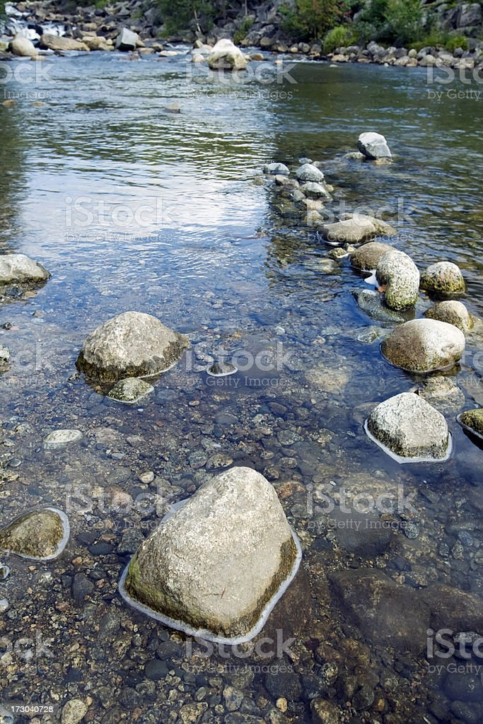 Stones in a  beautiful  Norwegian quiet river in summer. royalty-free stock photo