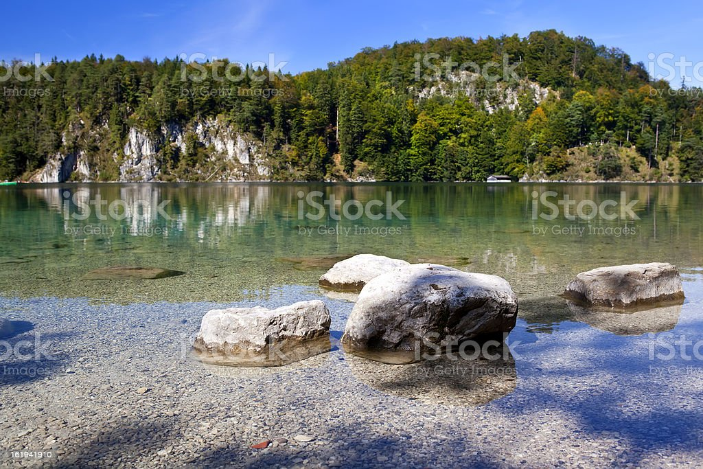 stones in Alpsee royalty-free stock photo