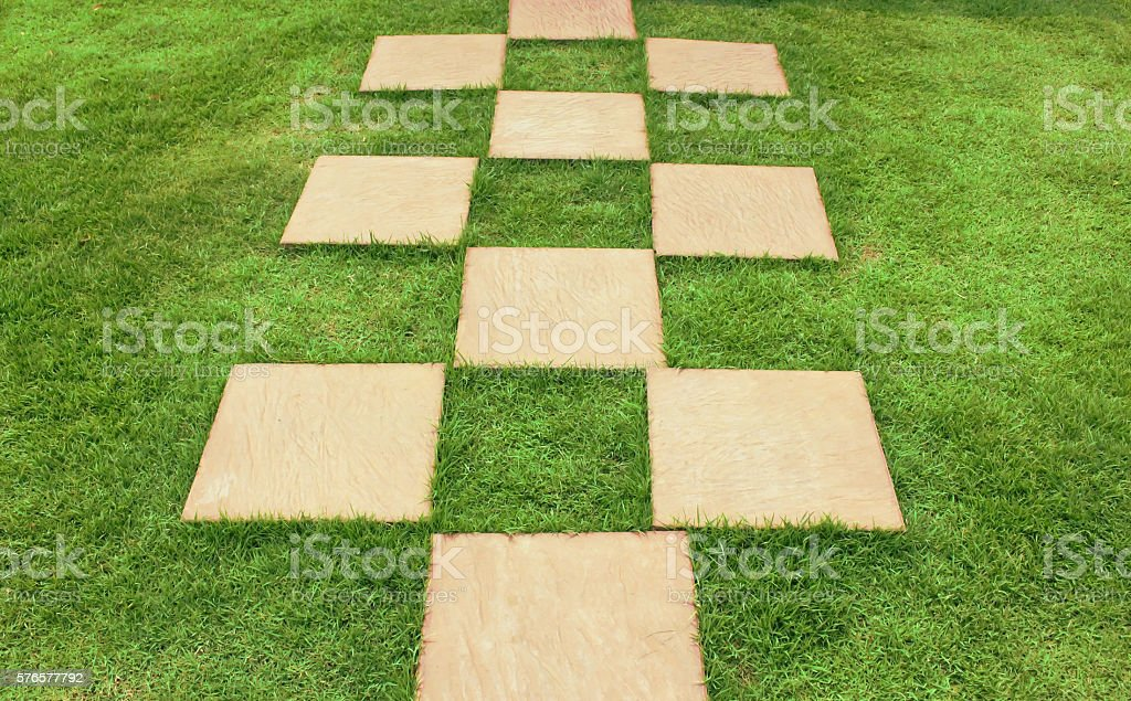 stones in the grass, making a way stock photo