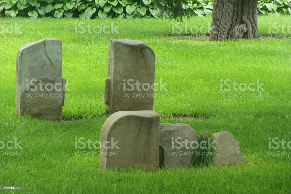 stones in the grass stock photo