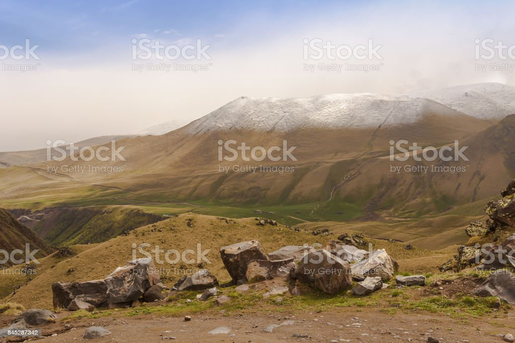 Stones in the mountains to Dzhily-Su.North Caucasus stock photo