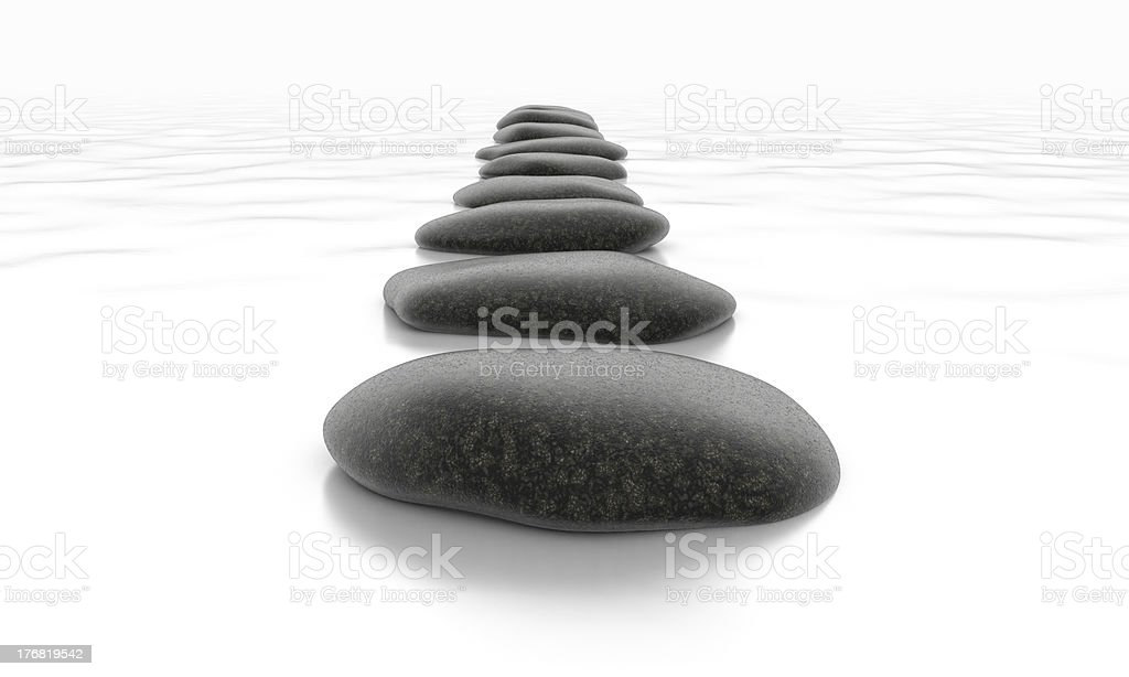 Stones in the sea with path royalty-free stock photo