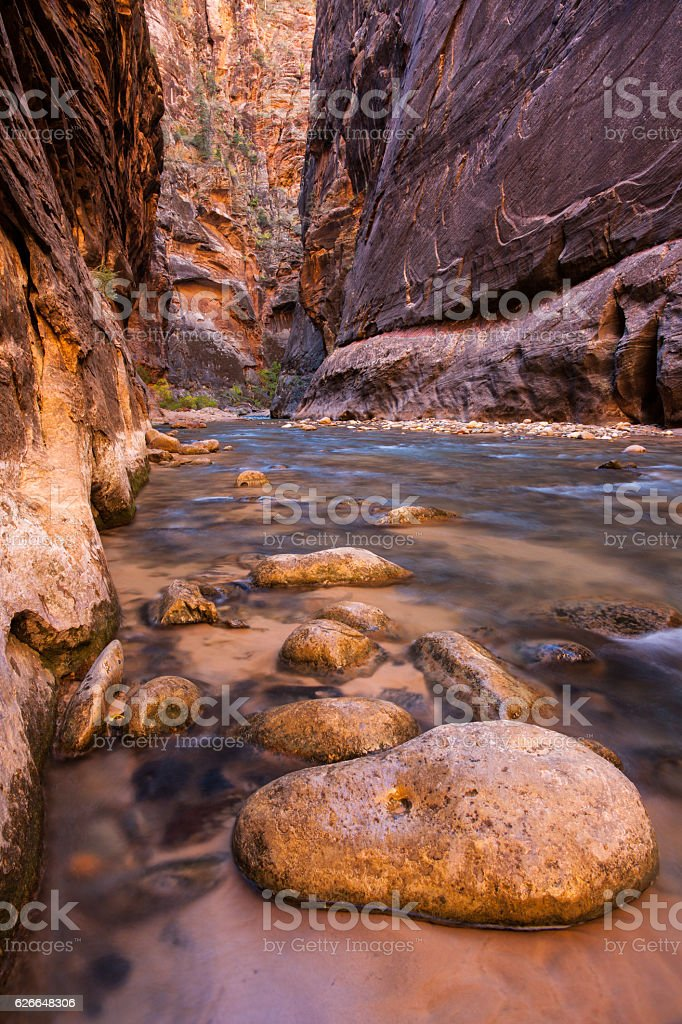 Stones in the Virgin Narrows in Zion National Park stock photo