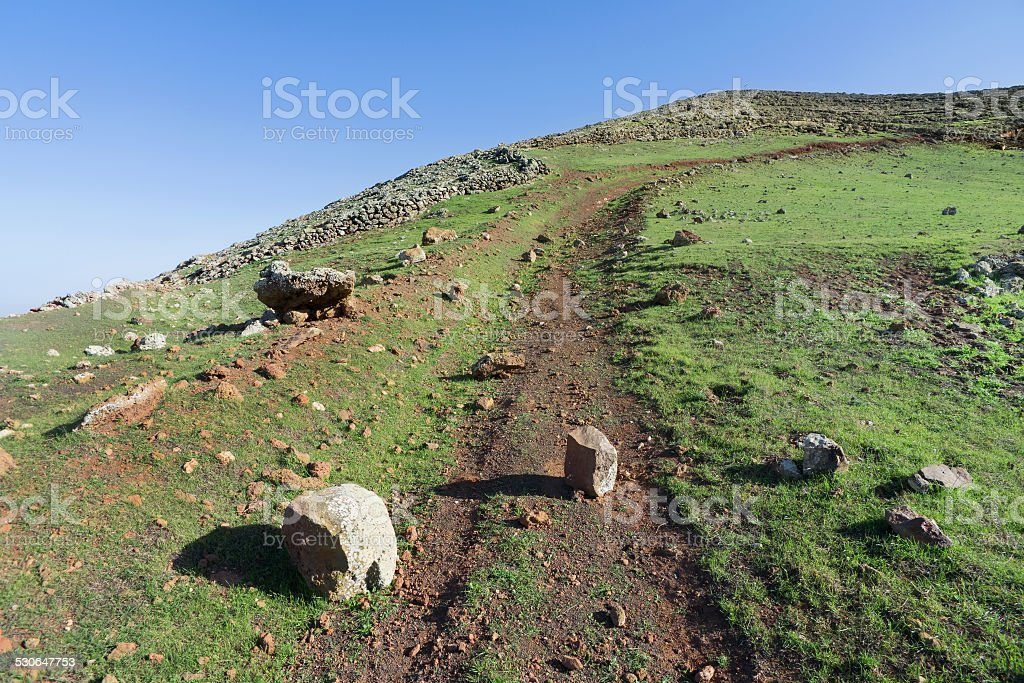Stones in the way to Montana Blanca, Lanzarote royalty-free stock photo