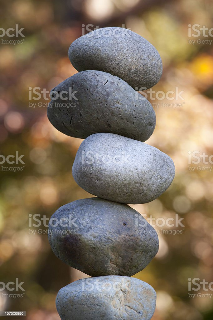 Stones in Zen-Like Garden, Balance, Stack, Perfection royalty-free stock photo