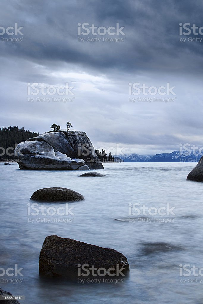 Stones Leading to Banzai Rock at Lake Tahoe royalty-free stock photo