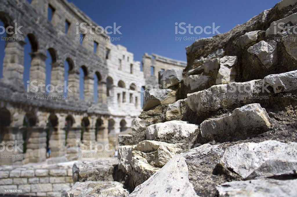 Stones of Roman amphitheater in Pula royalty-free stock photo