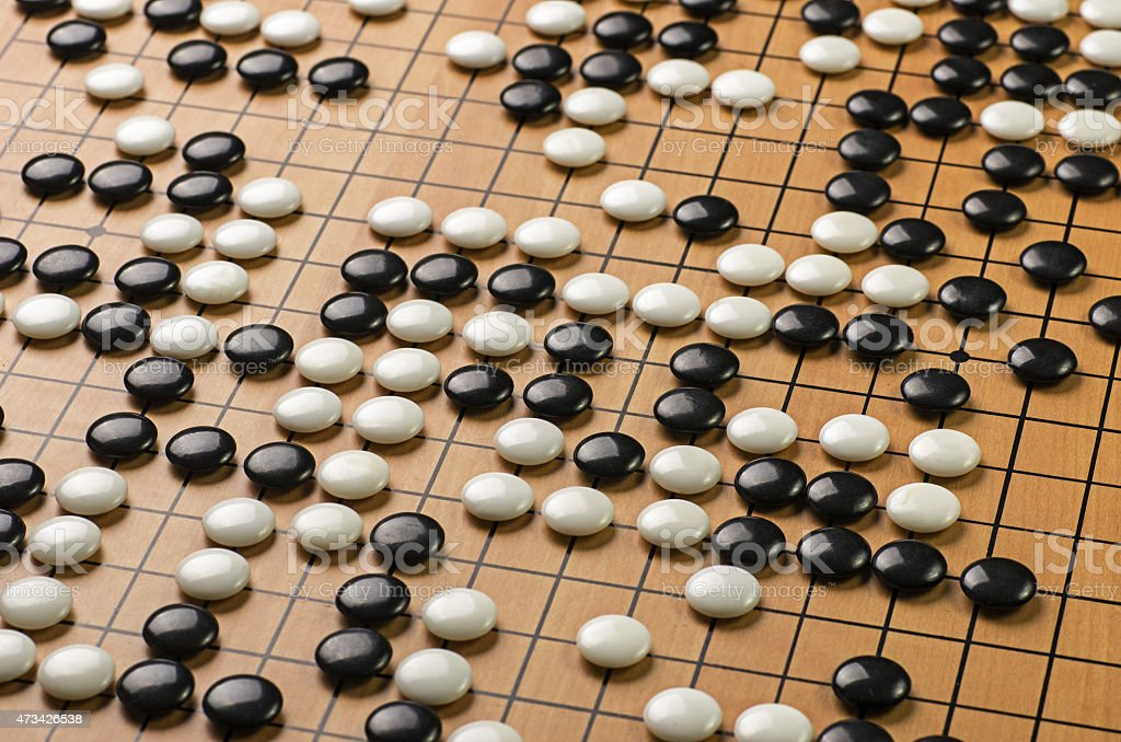 stones on a Go board stock photo