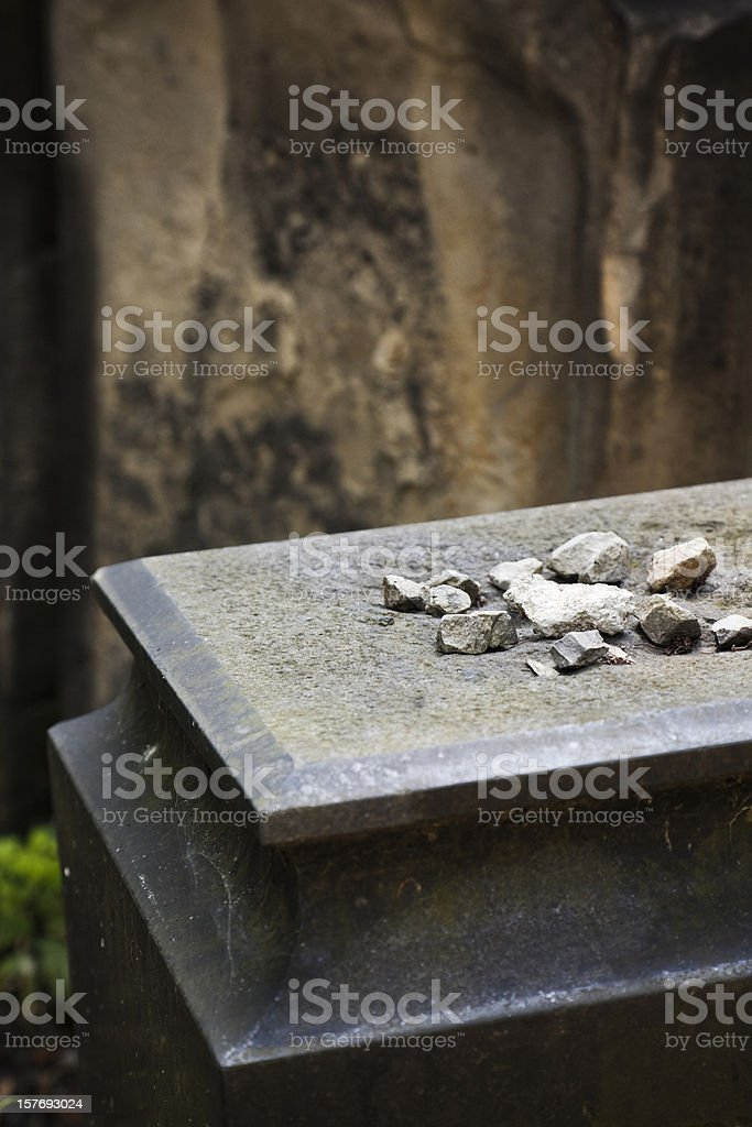 Stones on a grave stock photo