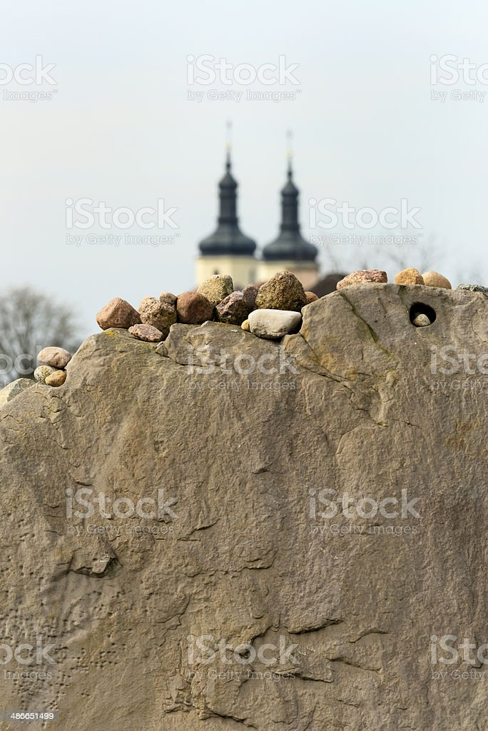 Stones on a sandstone wall. stock photo