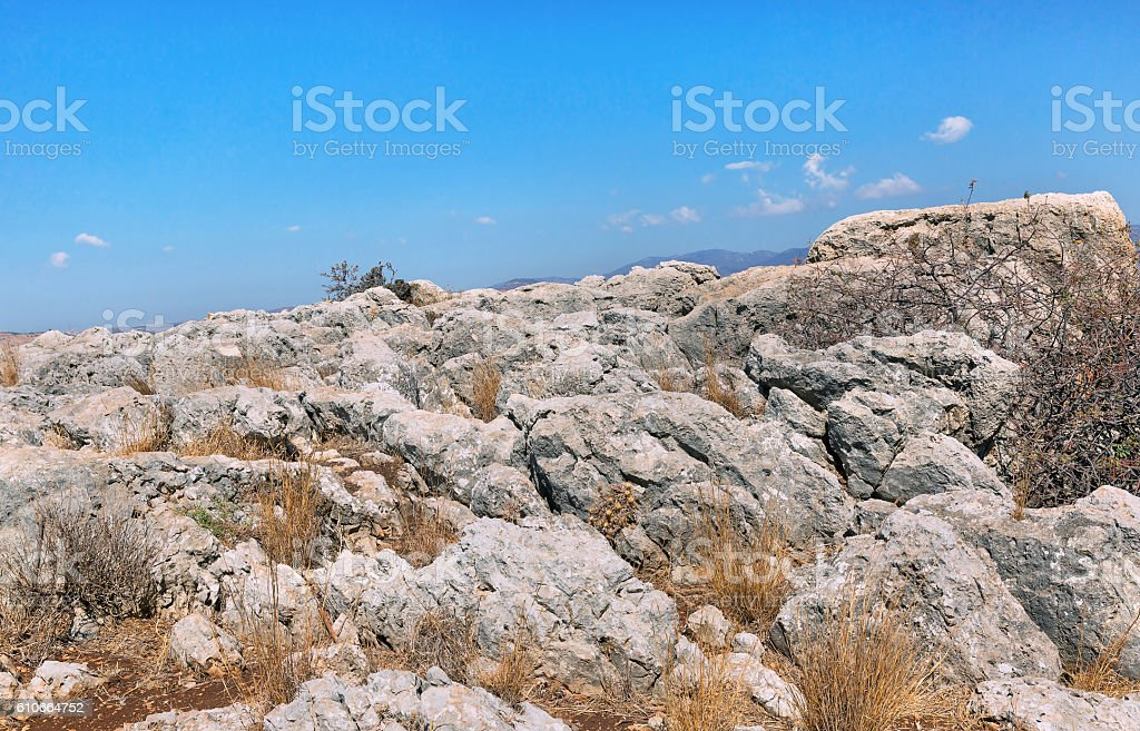 stones on Mount Arbel stock photo