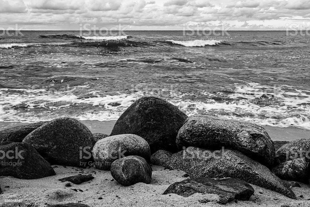 Stones on the beach. Baltic Sea. stock photo