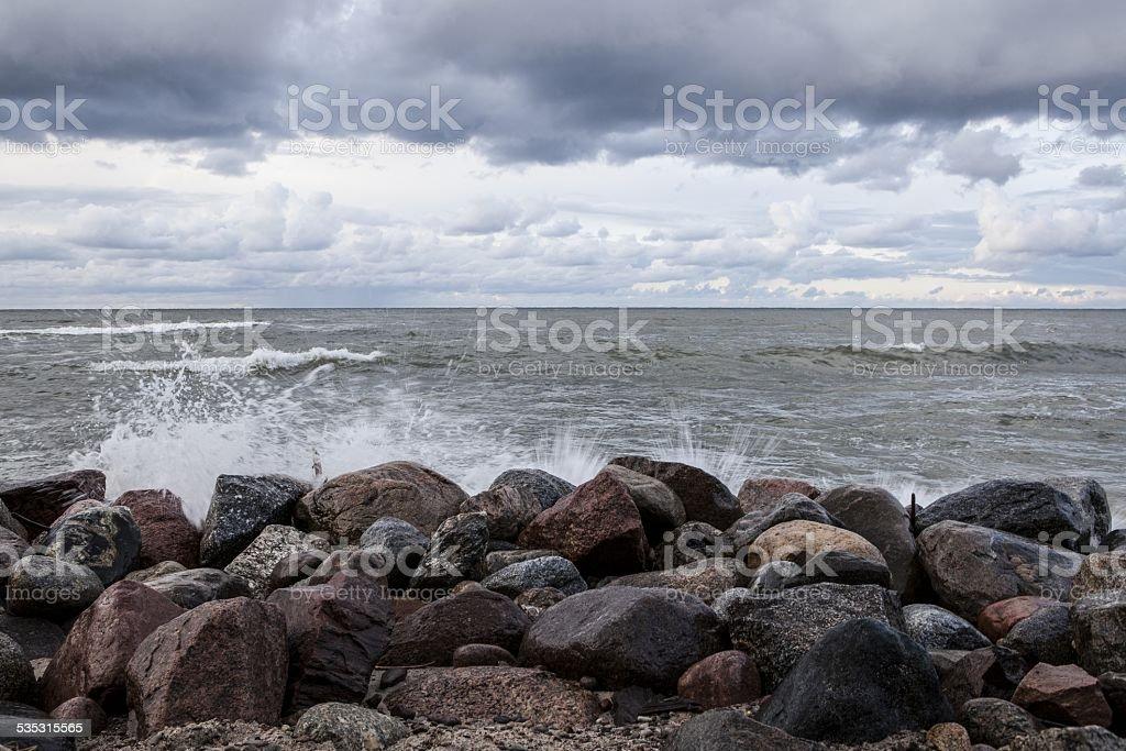 Stones on the beach. Baltic Sea stock photo