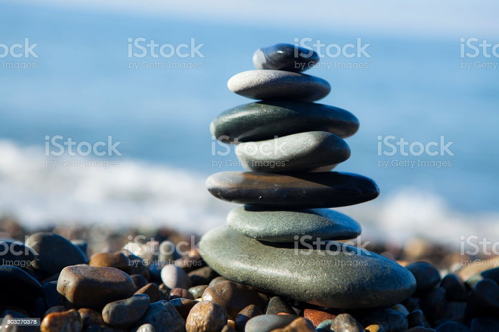 stones on the beach stock photo