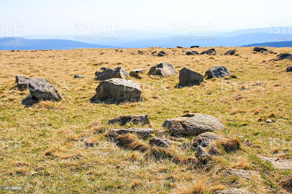 Stones on the meadow at Brocken stock photo