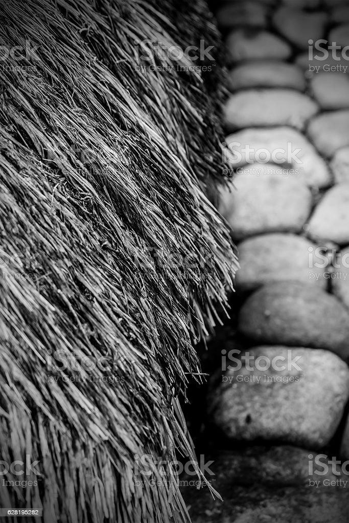 stones & straw II-bontoc-philippines stock photo