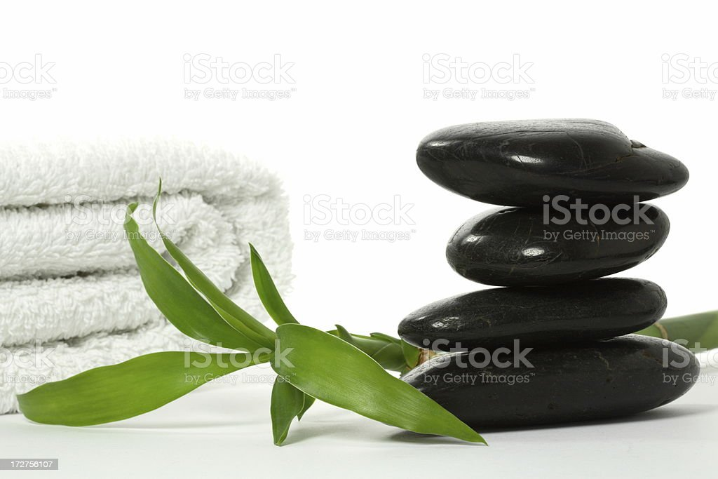 Stones with Bamboo and Towel royalty-free stock photo
